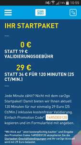 [Car2Go] Starterpaket 29€ Anmeldung + 120 min