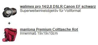 [Redcoon] Hotdeal am 06.04...Walimex pro 14/2,8 DSLR Canon EF +Mantona Premium Colttasche rot für 319,99€ Versandkostenfrei