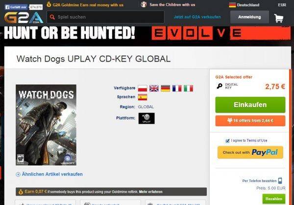 Watch Dogs G2A.com für 2,75 Euro USK 18 PC-Game