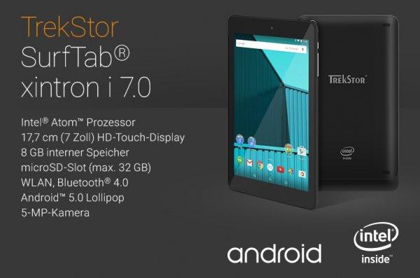 TrekStor SurfTab xintron i 7.0 7.0 Zoll, IPS, 1GB RAM, 8GB Speicher mit Android™ 5.0 Lollipop für 66€ + 2,99€ Versand