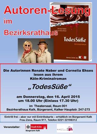 """Köln :  16.4.2015 - Buchvorlesung TodesSüße"""": """"Krimi mit Morden im Museum und in der Altstadt"""" um 18 Uhr - Eintritt frei"""