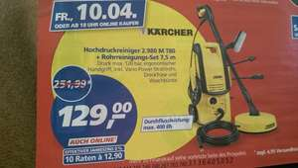 [real] am 10.04.15 - Kärcher, Hochdruckreiniger K 2.980M 80 T-Racer + Rohrreinigungs-Set 7,5 m für 129,00