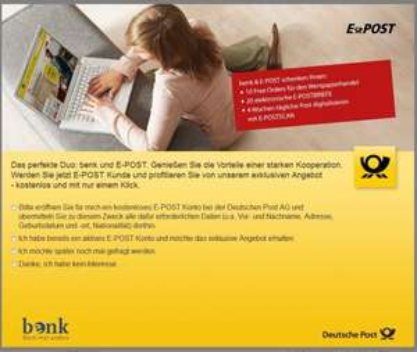 [benk] 10 Free Orders ( Wert: 64,90€)  für den Wertpapierhandel für Eröffnung eines E-Post Kontos