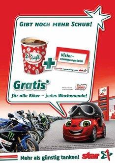 Gratis Kaffee + Visierreinigungstuch+10€ Louis Gutschein für Biker @Star Tankstellen