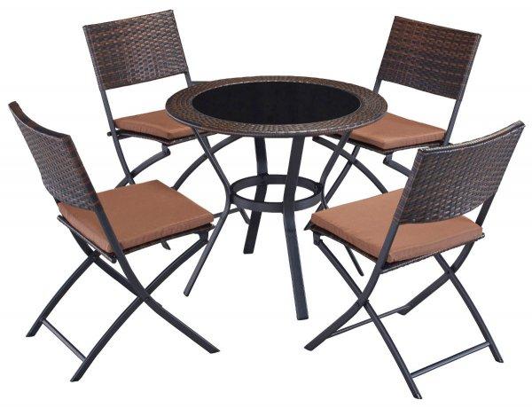 4 Stühle + runder Tisch PolyRattan klappbar @eBay 89,99Euro