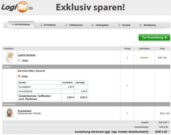 Logitel: Klarmobil AllNet_Starter24 / 400MB Datenflat /100 min. alle Netze /100 SMS für 2,95 Euro/Monat, gesamt 80,75€ oder 55,75€ bei Rufnr.-mitnahme