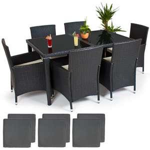 ebay 10 garten poly rattan gartenm bel ess garnitur 6 1 anthrazit. Black Bedroom Furniture Sets. Home Design Ideas