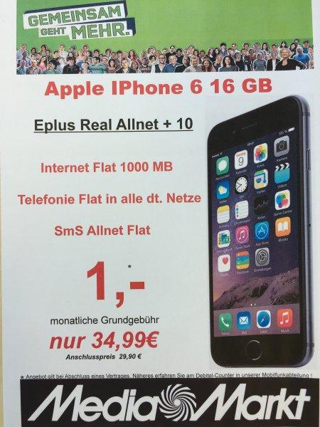 [LOKAL: Media Markt Castrop-Rauxel] mobilcom eplus Real Allnet monatlich 34,99€  + Apple Iphone 6 16 GB einmalig 1€