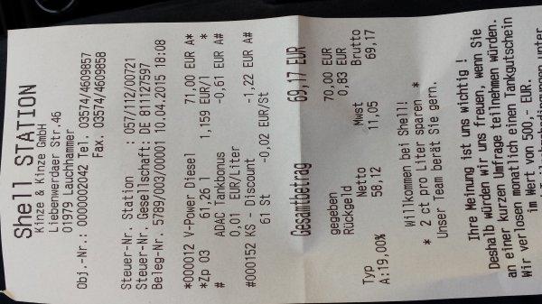 Shell V-Power Diesel 01979 Lauchhammer zum Preis von normalen Diesel