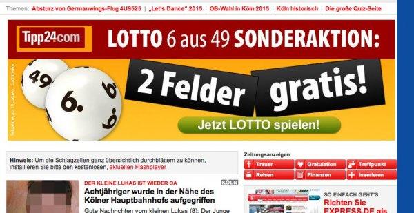 2 x Lottofelder Gratis @ Tipp24 (alter Gutschein, nur möglich für Leute die nicht getippt haben)