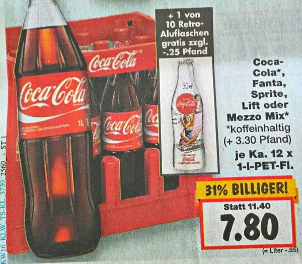 [Kaufland Marbach/Steinheim] (KW16) Coca-Cola 12x1L PET + 1 von 10 Retro-Aluflaschen 7,80€ zzgl. Pfand