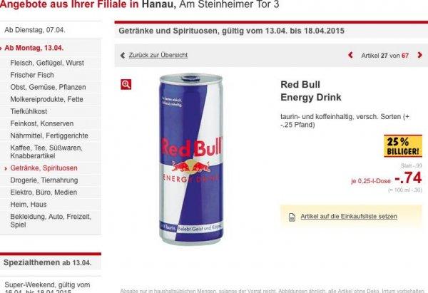 [Kaufland] Red Bull Energy Drink, verschiedene Sorten für 74 Cent!