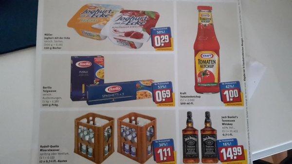 (Lokal Alzenau) Geburtstagsangebote Rewe Center: Kraft Ketchup 1€ / Joghurt mit der Ecke 0,29€ / Barilla 0,69€ / Kasten Rudolf Quelle 1,11€ / Jack Daniels 14,99€