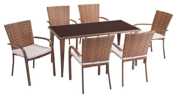 6 Stühle + Tisch Sitzgruppe stapelbar PolyRattan + Auflagen @ebay 224,99Euro