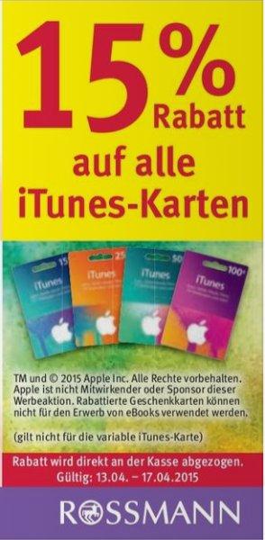 [Rossmann] Bundesweit 15% auf itunes Karten ab 13.04.15