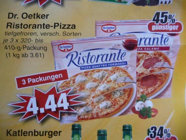 (Lokal) Dr. Oetker Ristorante-Pizza verschiedenen Sorten (3 Packungen) bei Edeka in Alzenau / Mömbris / Schöllkrippen Stückpreis 1,48 Euro