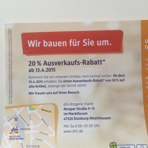(Lokal Duisburg) 20% auf alles bei DM ab dem 13.04