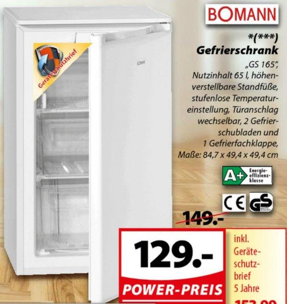 [Famila Nordwest] Bomann Gefrierschrank GS165 für 129 Euro