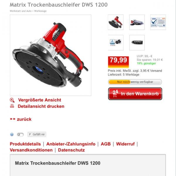 Deckenschleifer Matrix DWS 1200