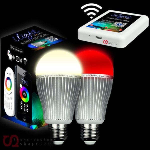 [Ebay WoW] 2x s`luce iLight RGB/W LED 9W-Leuchtmittel + WIFI Controller / Fassung E27 o. GU10