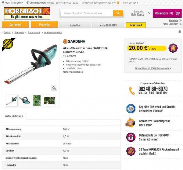 [Lokal? Ulm] Gardena ComfortCut Akku-Strauchschere 30 für 17,60 € mit Bauhaus Tiefpreisgarantie