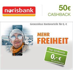 norisbank: kostenloses Girokonto mit 50,- Euro Cashback von qipu - zusätzlich KwK möglich