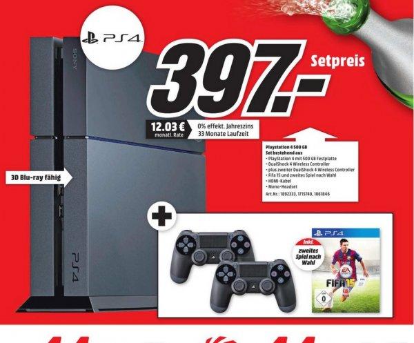 (lokal Köln Marsdorf MM) PS4 + 2 Controller + Fifa 15 (inkl. 2 Spiel nach Wahl) für 397€