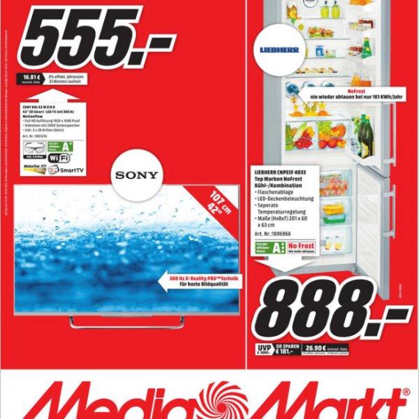 (Lokal) Media Markt Trier, Sony KDL 42W 815 für 555€ , Preis bei Idealo 699€ bei Saturn online.