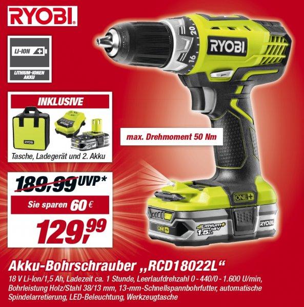 [toom bundesweit] Akku-Bohrschrauber Ryobi RCD18022L inkl. Tasche und 2 Akkus für 129,99 Euro