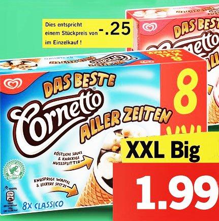 Cornetto Eis XXL Big Pack 1,99€ das sind nur 25 Cent pro Stück bei [ Lidl ]