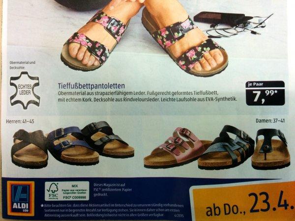 Aldi-Süd: Leder-Pantoletten mit Korkfußbett (ähnlich Birkenstock) für € 7,99 ab 23.04.