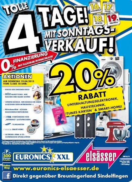 LOKAL: Euronics Stuttgart-Sindelfingen -20% Rabatt auf TV/Hifi, Hausgeräte, iTunes Karte