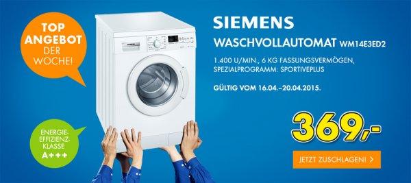 Euronics Online - Siemens Waschmaschine WM14E3ED2 €369 + €29 Versand oder Abholung