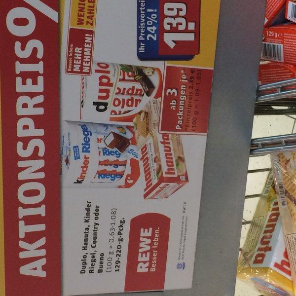 Ferrero Duplo, KinderRiegel, Hanuta, etc. mit Lovebrands-Punkten für 1,39 Euro ab 3 Packungen
