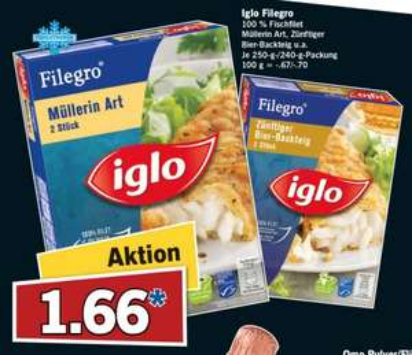 """[Lidl/Bundesweit] Iglo Filegro für 1,66€ verschiedene Sorten am """"Super-Samstag"""" 25.04.2015"""