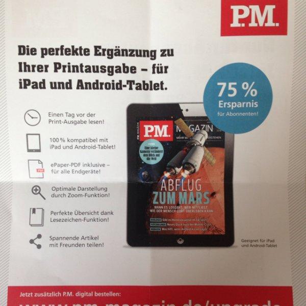 [online] P.M. Magazin digital für 0,75€/ Ausgabe statt 2,99€