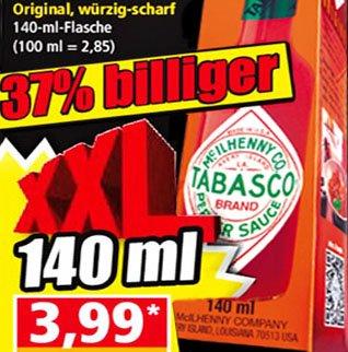 Tabasco XXL Original, würzig-scharf zum Grillfest nur 3,99€ bei [Norma]