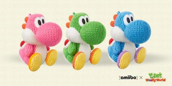 Woll Yoshi Amiibo (grün, blau, rosa) im Media Markt