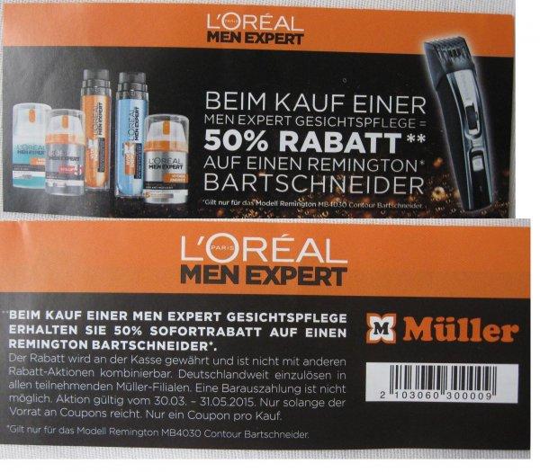 Müller: Bei Kauf einer MEN Expert Gesichtspflege = 50% Rabatt auf einen Bartschneider