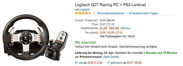Logitech G27 @Amazon-Blitz-Deals für 189€