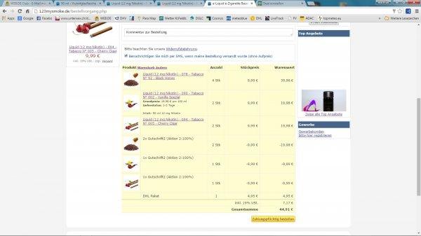 E-Zigaretten Liquid  50ml  Beim Kauf 1 Flasche jeweils 1 Flasche GRATIS 123mySmoke.de