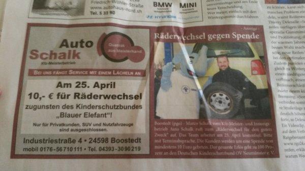 Kfz-Räderwechsel für 10 EUR  Spende (lokal 24598 Boostedt)