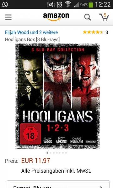 Hooligans 1-3 auf Blue-Ray bei Amazon DE nur 11,97