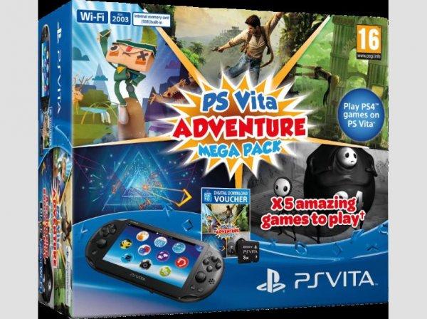 [Saturn Österreich] SONY PlayStation Vita Konsole WiFi Bundle + Mega Pack Adventure + 8 GB Speicherkarte für 129,-€ inc. Versand.NUR HEUTE
