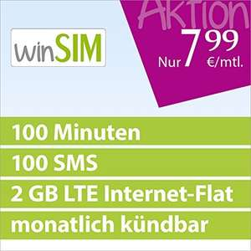[Amazon Blitzangebot] winSIM LTE Mini Plus 2000 [SIM, Micro-SIM und Nano-SIM] monatlich kündbar (2 GB LTE Daten-Flat mit max. 21,1 MBit/s, 100 Frei-Minuten, 100 Frei-SMS, 7,99 Euro/Monat, 15ct Folgeminutenpreis ) O2-Netz