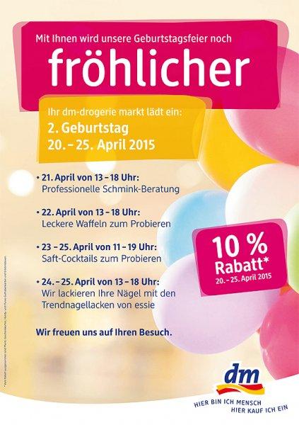 [lokal München] 10 % Rabatt auf den gesamten Einkauf vom 20.04. – 25.04.2015 + Freebies @ dm Sendlinger Str. 12a