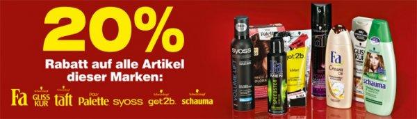 [netto o.H.] 20% Rabatt auf eine Vielzahl von Schwarzkopf-Produkten