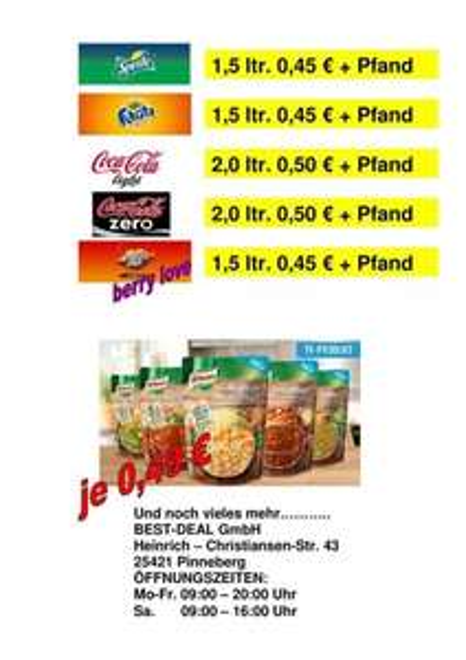 [lokal Pinneberg] Coca Cola, light, Zero, Sprite, Mezzo Mix, Fanta 0,5, 1,5 und 2,0