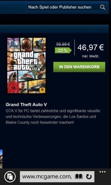 GTA V PC-Key für 46,97€ @mcgame.com