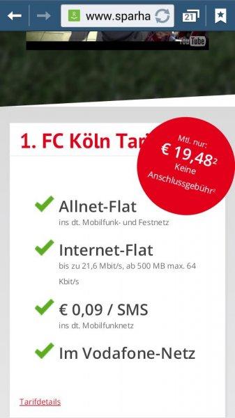 Sparhandy 1.FC Köln Tarif 19.48€/Monat